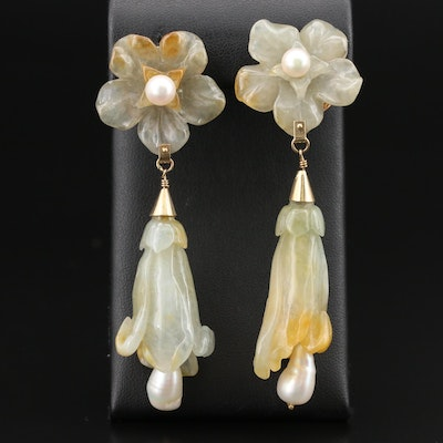 Chinese Carved 14K Jadeite and Pearl Foxglove and Bell Flower Earrings
