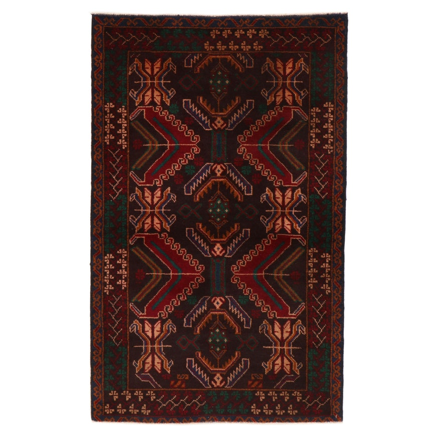 2'11 x 4'9 Hand-Knotted Afghan Baluch Rug, 2000s