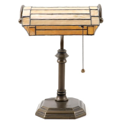 Tiffany Style Slag Glass Desk Lamp on Patinated Metal Base, 21st Century