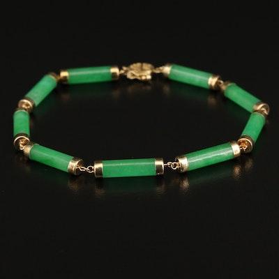 14K Jadeite Tubular Bracelet