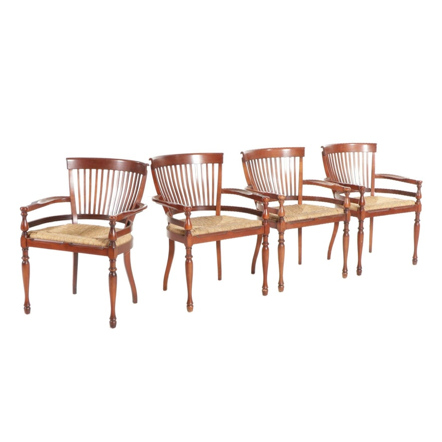 "Ralph Lauren ""Avington"" Open Armchairs with Twisted Grass Seats, Set of Four"
