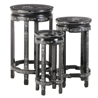Three Chinese Lacquered Wood Nesting Tables with Mother-of-Pearl Inlay
