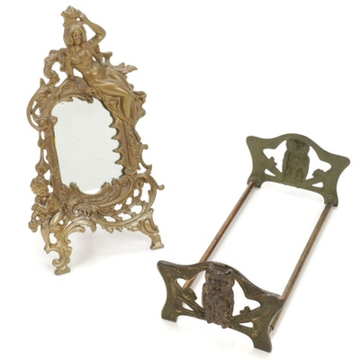 Art Nouveau Brass Cast Expandable Bookends and Mirror