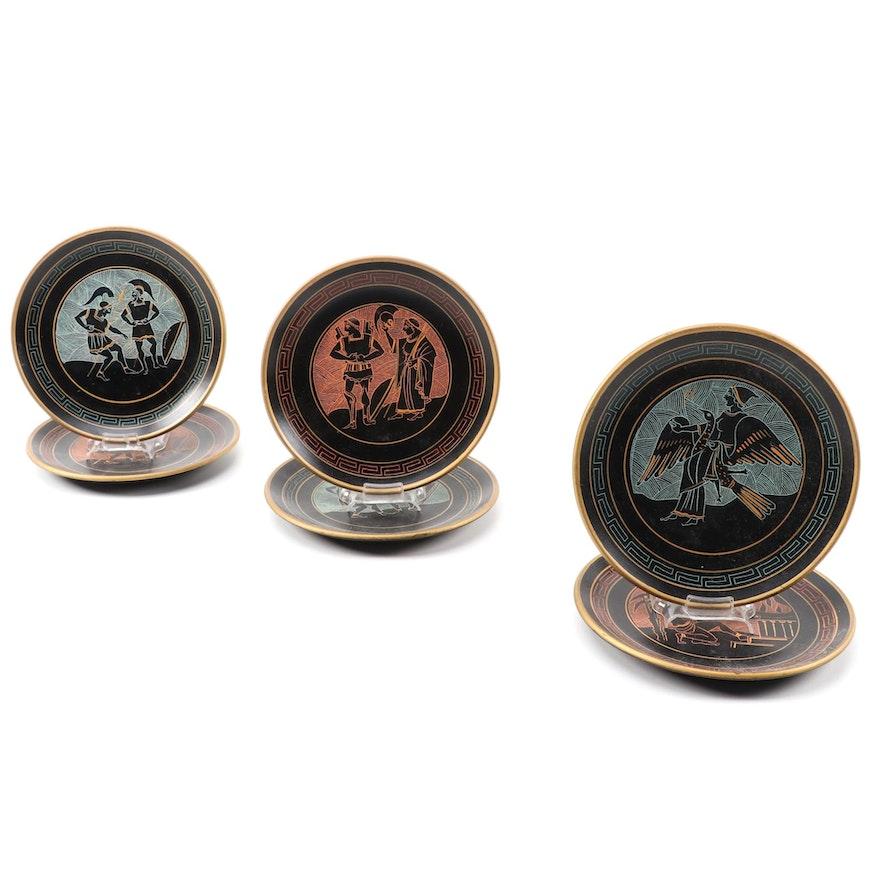 Greek Terracotta Decorative Plates with Ancient Greek Scenes