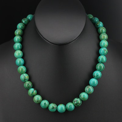 Magnasite Beaded Necklace with Sterling