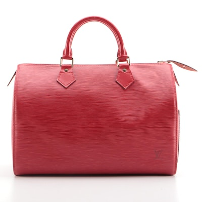 Louis Vuitton Speedy 30 Bag in Castilian Red Epi and Smooth Leather