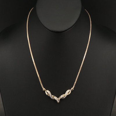 14K Diamond Twisted Chevron Necklace