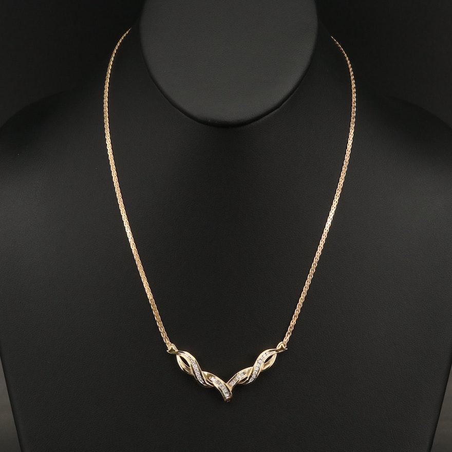 14K Diamond Twisted Chevron Necklace