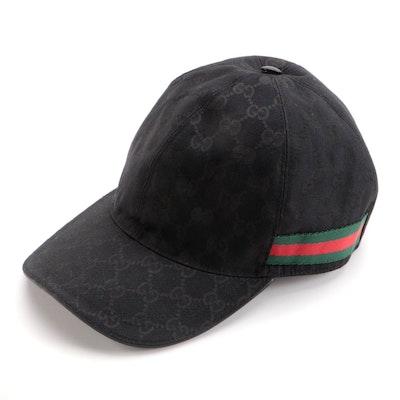 Gucci Baseball Cap in Black GG Canvas, Web Stripe and Leather