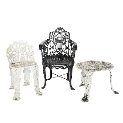 Cast Iron Patio Table with Aluminum Chairs