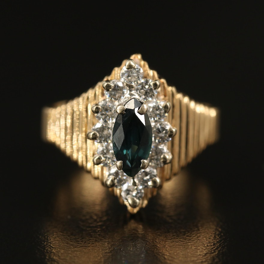 14K Sapphire and Diamond Navette Ring with Fluted Shoulders