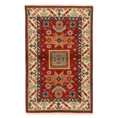 3'9 x 6'2 Hand-Knotted Indo-Caucasian Kazak Rug, 2010s