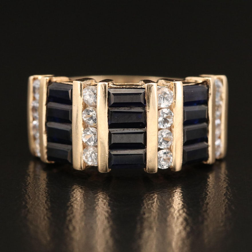 14K Sapphire and White Sapphire Multi-Row Ring
