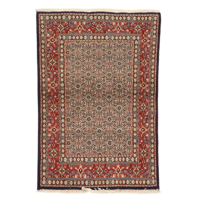 3'3 x 4'11 Hand-Knotted Persian Moud Khorasan Rug, 1980s