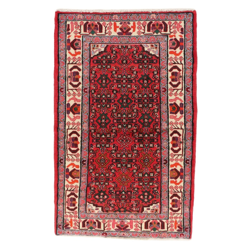 3'3 x 5'1 Hand-Knotted Persian Malayer Rug, 1970s