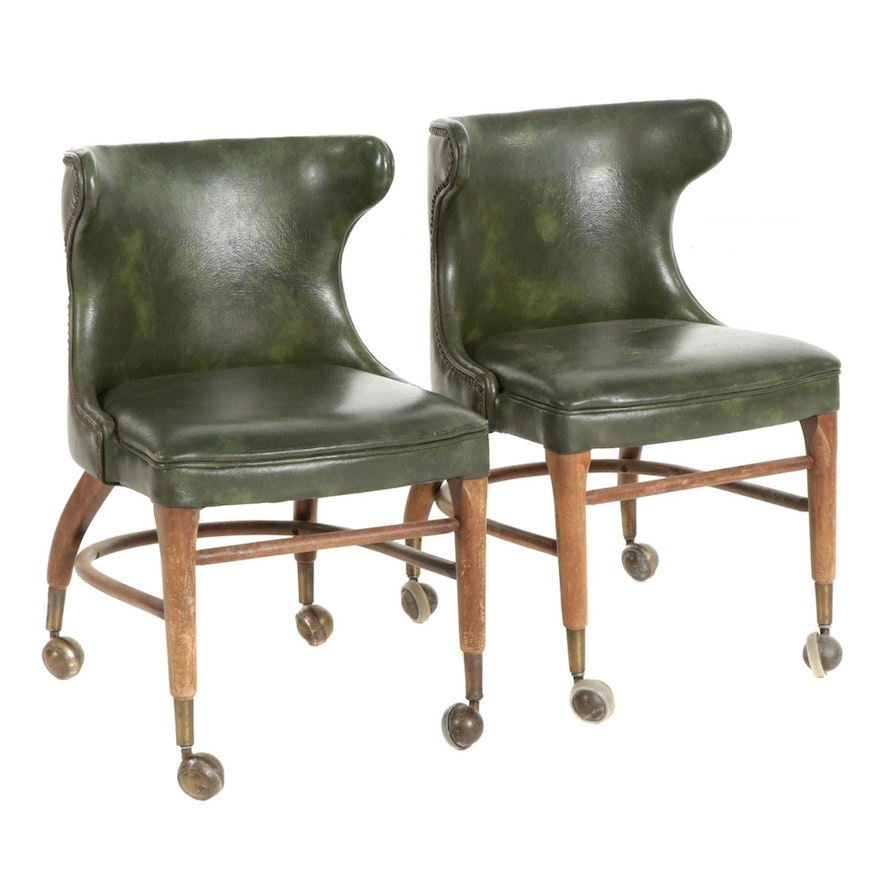 Pair of Shelby Williams Green Faux Leather Rolling Side Chairs