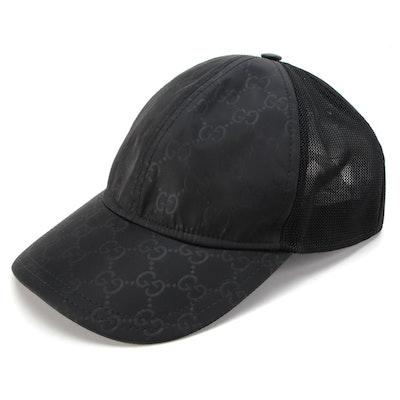 Gucci Baseball Cap in Black GG Nylon and Mesh