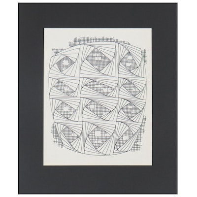 W. Glen Davis Geometric Ink Drawing, 20th Century