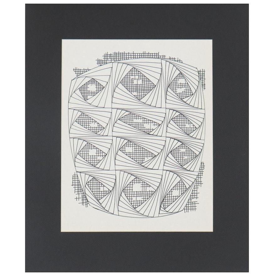 W. Glen Davis Geometric Ink Drawing, 20th Century