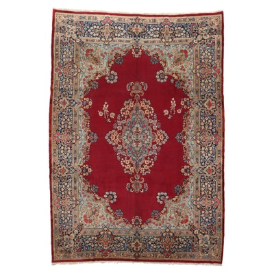 9'7 x 14' Hand-Knotted Persian Lavar Kerman Room Sized Rug, 1950s