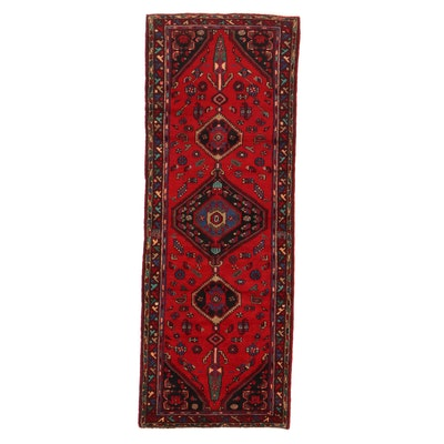 3'4 x 9' Hand-Knotted Persian Zanjan Long Rug, 1970s
