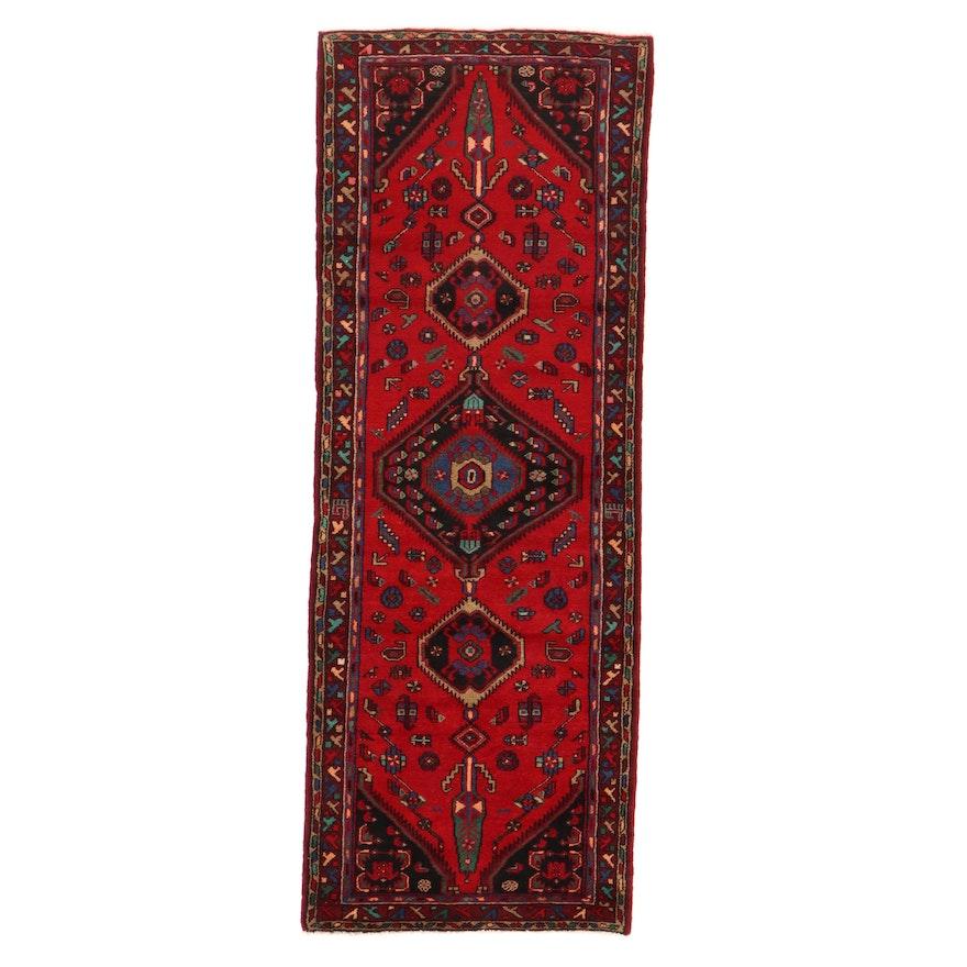 3'4 x 9' Hand-Knotted Persian Zanjan Long Rug, 1970s