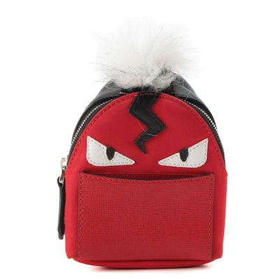 Fendi Monster Eyes Fur Key Ring and Bag Charm in Nylon and Leather