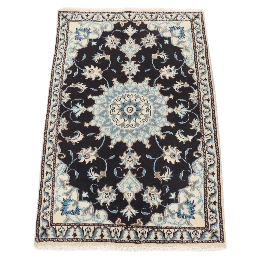 3' x 4'8 Hand-Knotted Persian Nain Silk Blend Rug, 2000s