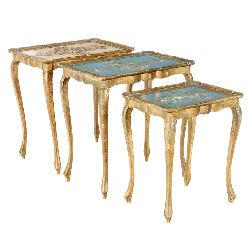 Florentine Style Gilt and Paint-Decorated Side Tables