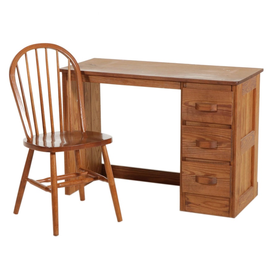 Pine Student's Desk with Windsor Style Side Chair