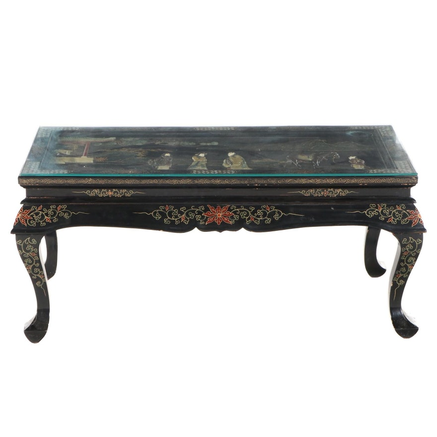 Chinese Lacquered, Paint-Decorated and Mother-of-Pearl Inlaid Coffee Table