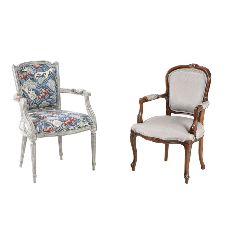 Chateau d'Ax Louis XV Style Fauteuil with Louis XVI Style Upholstered Armchair