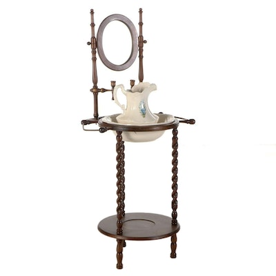 Edwardian Style Basin Stand with Pitcher and Bowl