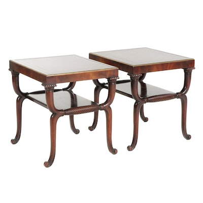 Pair of Neoclassical Style Leather Top Mahogany Side Tables, Late 20th Century