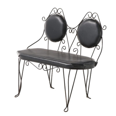 Bistro Style Vinyl Upholstered Wire Two-Seat Bench, Mid-20th Century