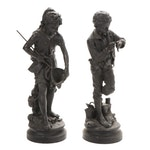 Boy and Girl Fishing Cast Metal Sculptures