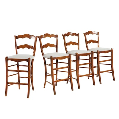 Four Maple-Stained Wooden Ladder-Back Counter Height Stools, Late 20th Century