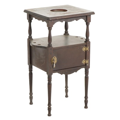 H.T. Cushman Walnut Smoking Stand, Early 20th Century
