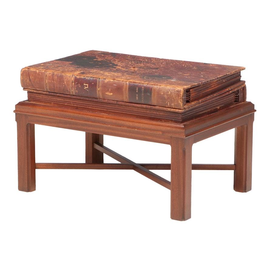 "Custom Table of Leather ""Bronzini New York"" Ledgers on Mahogany Stand"