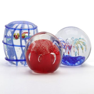 Ruby May Birdcage Motif Paperweight and Other Art Glass Paperweights
