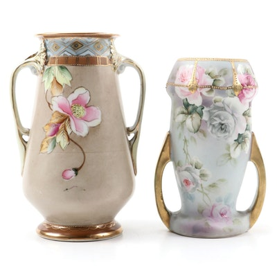 Nippon Porcelain Vases with Raised Enamel Accents, Early 20th Century