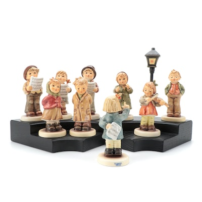 "Goebel ""Lamplight Caroler"" with Other Singer and Musician Porcelain Figurines"