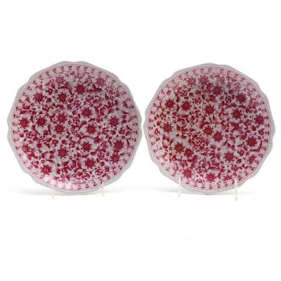 Chinese Floral Motif Crackle Glaze Porcelain Scalloped Plates