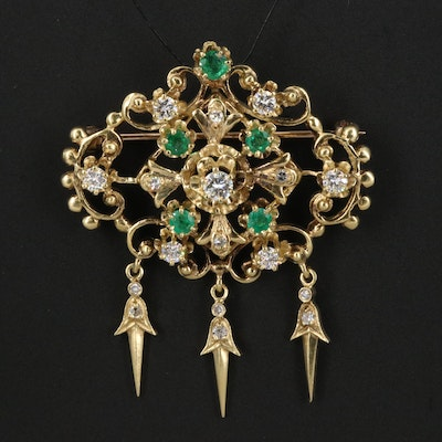 Vintage Style 18K 1.02 CTW Diamond and Emerald Converter Brooch