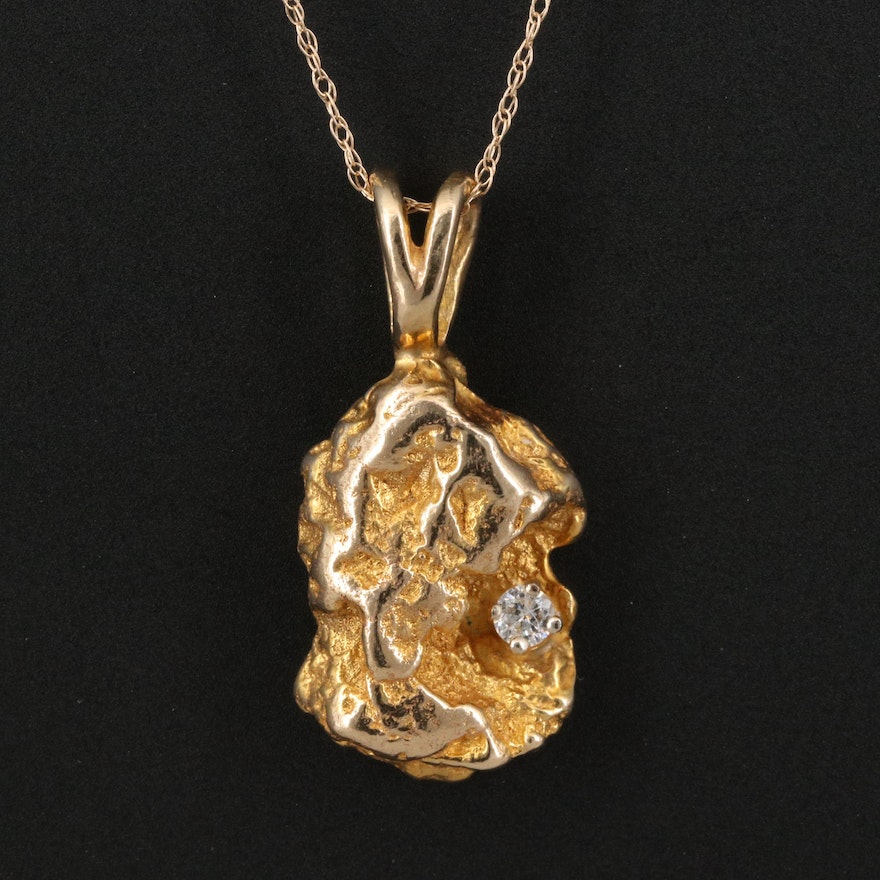 10K Diamond Nugget Pendant on 14K Necklace