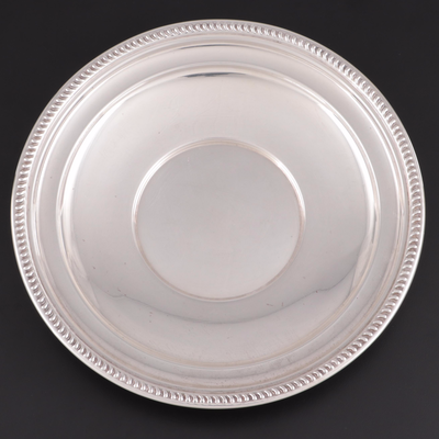 Rope Edge Round Sterling Silver Sandwich Plate, Early to Mid 20th Century