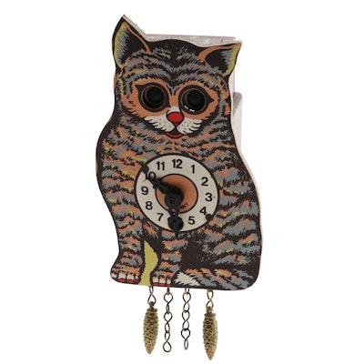 J. Engstler German Moving Eyes Cat Wall Clock