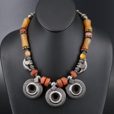 Berber Style Sterling Agate, Amber and Faux Coral Necklace