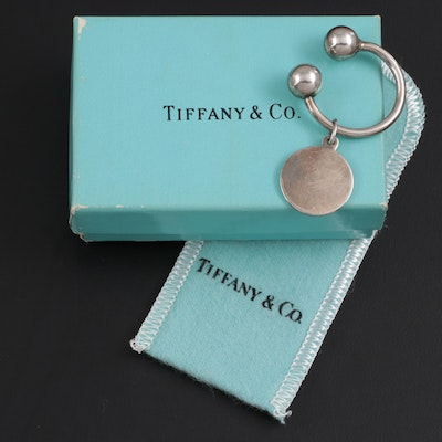 Tiffany & Co. Sterling Silver Round Tag Key Ring with Pouch and Box