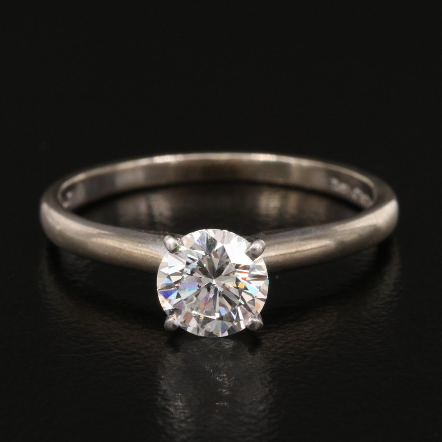 14K 0.70 CT Diamond Solitaire Ring with Platinum Head